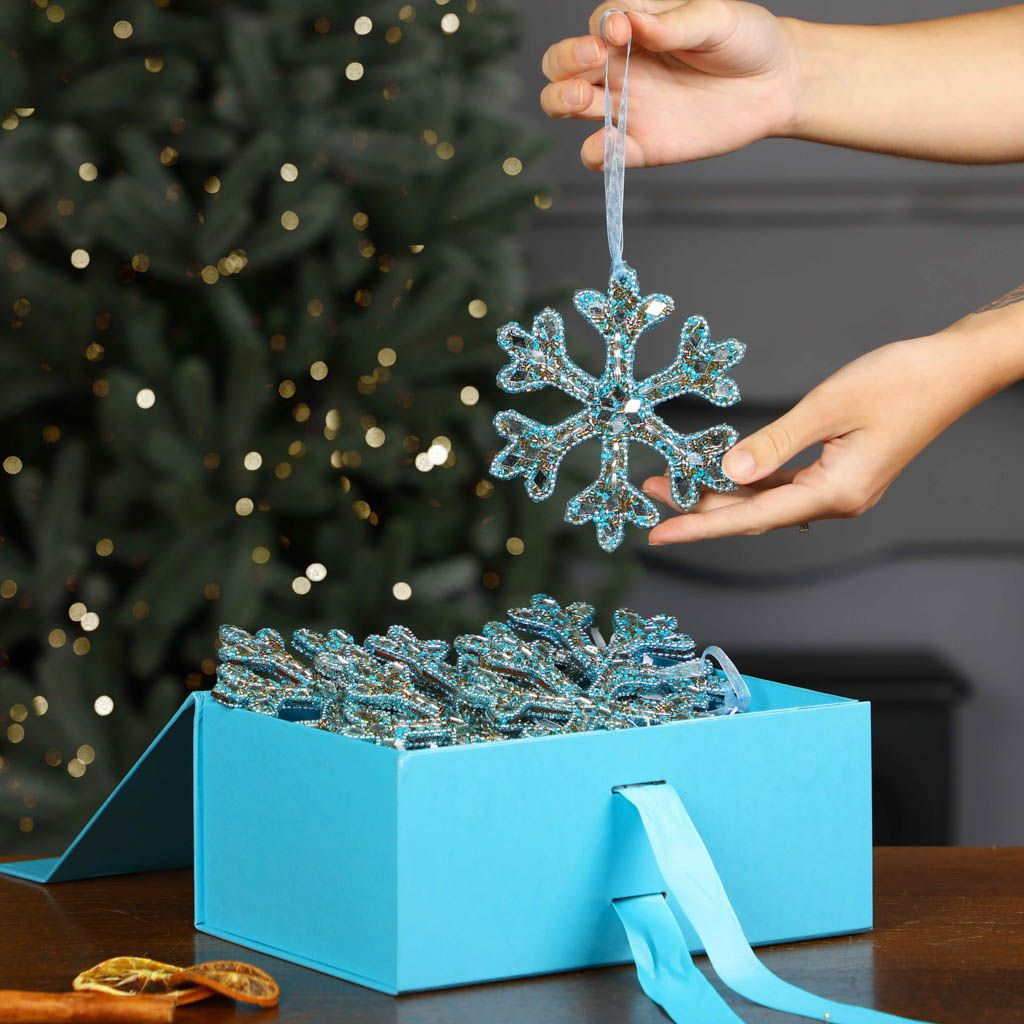 Six Sparkling Icy Blue Snowflake Ornaments With A5 Gift Box