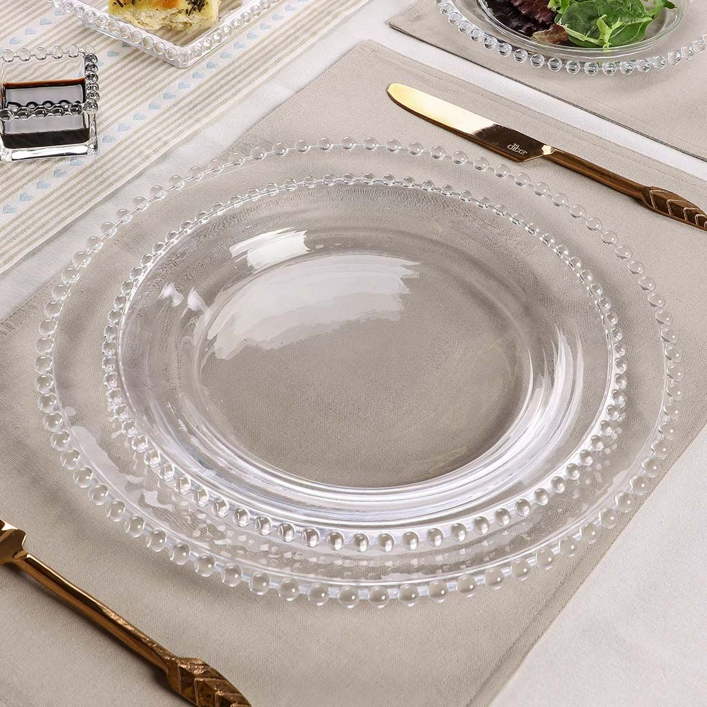 Bella Perle Clear Beaded Glass Dinner Plate