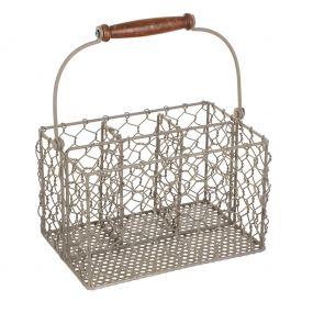 French Grey Chicken Wire Cutlery Caddy Basket