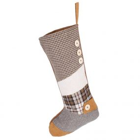 Traditional Brown Patchwork Christmas Stocking