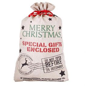 Reindeer Express Hessian Christmas Sack