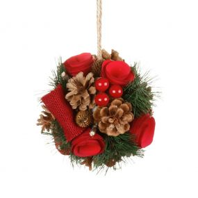Luxury Winter Red Rose Christmas Bauble