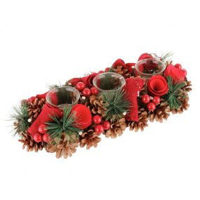 Luxury Winter Red Rose Christmas Trio Candle Holder