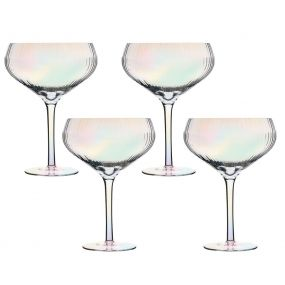 Set of 4 Iridescent Ribbed Champagne Saucers