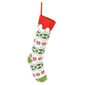 Knitted White Fair Isle Christmas Stocking
