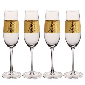 Set of 4 Gold Leaf Champagne Flutes