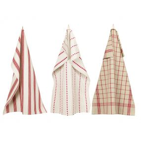 Set of 3 Red French Country Tea Towels