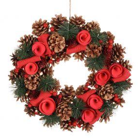 Luxury Winter Red Rose Christmas Wreath 14