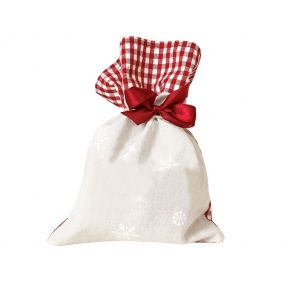 Cotton Gingham Snowflake Christmas Favour Bag
