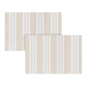 Set of 2 Millstone Blue Stripe Fabric Place Mats