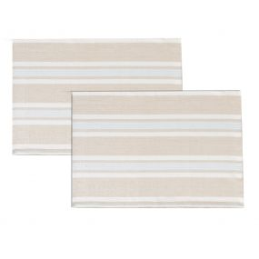 Set of 2 Millstone Blue Stripe Fabric Place Mats