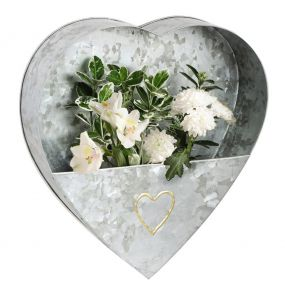 Galvanised Heart Shaped Wall Planter