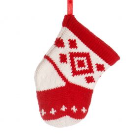 Red and White Stocking Tree Decoration