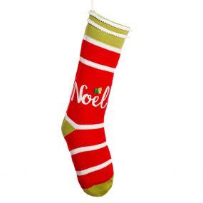 Noel Striped Christmas Stocking