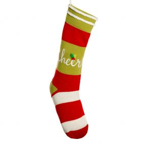 Cheer Candy Stripe Christmas Stocking