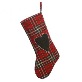 Highland Tartan Love Heart Christmas Stocking