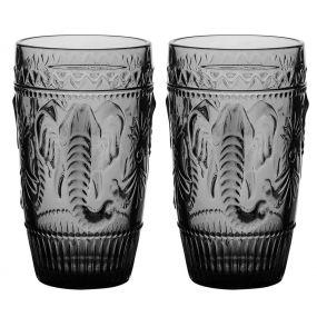 Set of 2 Elephant Grey High Ball Glasses
