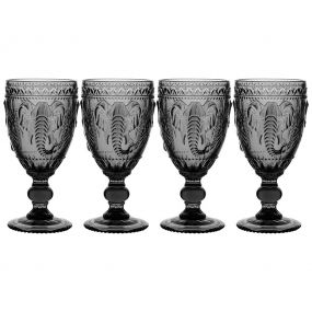 Set of 4 Embossed Elephant Grey Wine Goblets