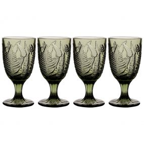 Set of 4 Embossed Leaf Green Wine Goblets