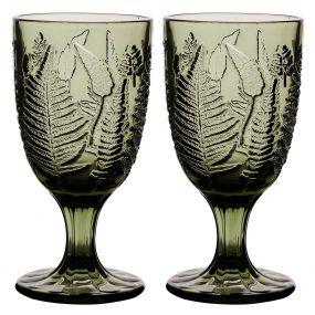 Set of 2 Botanic Green Leaf Goblets