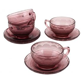 Set of 4 Pink Glass Teacups and Saucers