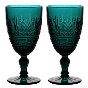 Set of 2 Deep Blue Art Deco Wine Goblets