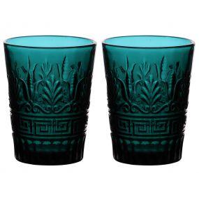 Set of 2 Blue Art Deco Tumblers