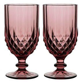 Set of 2 Pink Diamond Wine Goblets