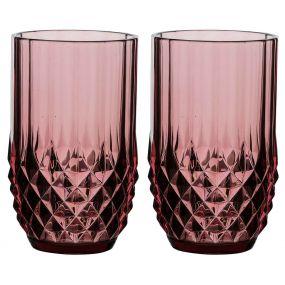 Set of 2 Diamond Pink High Ball Glasses