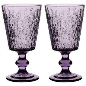 Set of 2 Lavender Wine Goblets