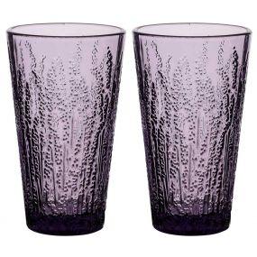 Set of 2 Lavender High Ball Glasses