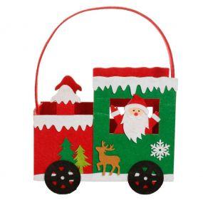 Red Felt Santa Train Christmas Gift Bag