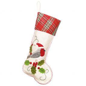Snow White Robin Christmas Stocking