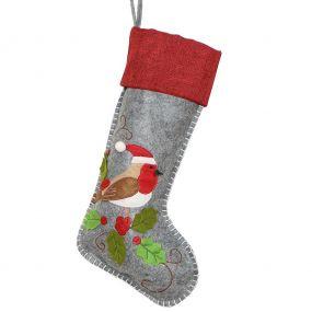 Nordic Style Robin Christmas Stocking