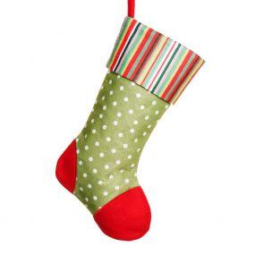 Green Polka Dot Christmas Stocking