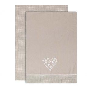 Set of 2 Grey Love Birds Tea Towels