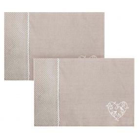 Set of 2 Grey Love Birds Fabric Placemats