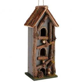 Grey Three Tier Natural Wooden Bird House