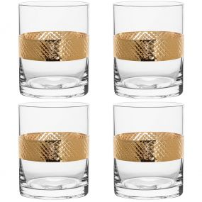 Set of 4 Gold Band Drinks Tumblers