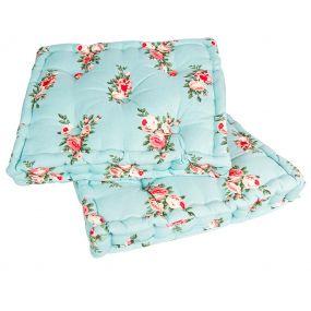 Vintage Blue Floral Mattress Cushion