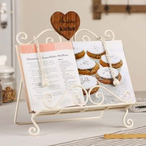 Personalised Country Cream Cookbook Stand with Heart