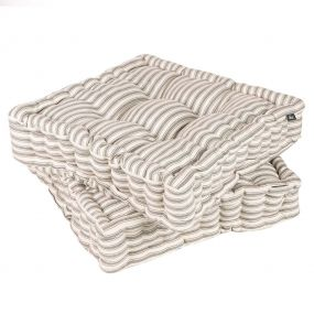 Set of 2 Grey Stripe Box Cushion Seat Pads