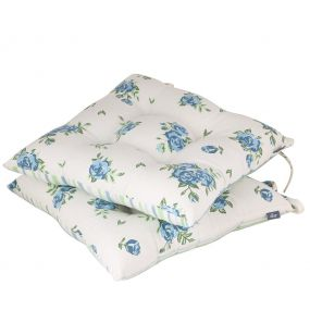 Set of 2 Organic Blue Floral Outdoor Chair Pads