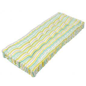 Citron Stripe Reversible Padded Bench Cushion