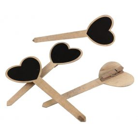 Set of 4 Wooden Heart Plant Markers