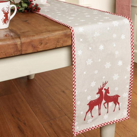 Woodland Stag Red Christmas Linen