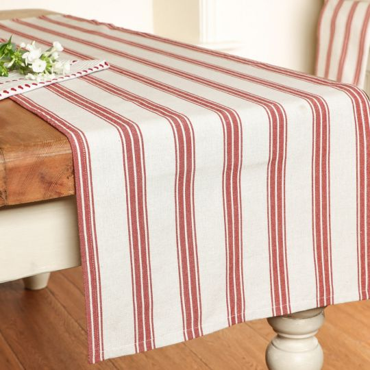 Red Striped Table Linen Collection