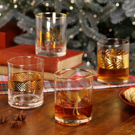 Decorative Embossed Gold Whisky Tumblers