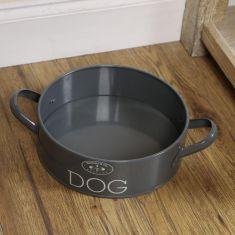 Grey Tin Dog Feeding Bowl