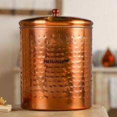 Large Hammered Antique Copper Pet Treat Jar